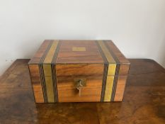 Early C20th walnut and brass banded writing slope