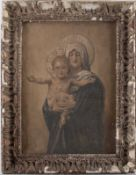 C19th oil on canvas Virgin Mary and child