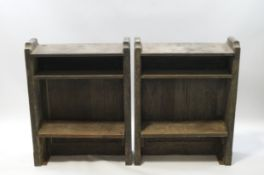 A pair of oak Church bookcases, each with two shelves