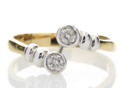 18ct Two Stone Rub Over Set Diamond Ring 0.20 Carats