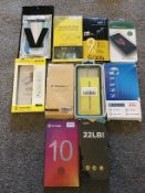 Lot of Phone Tempered Glass Screen Protectors & Phone Cases