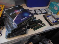 A box of computer related items