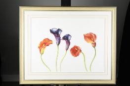 """Stunning Framed Limited Edition """"Purple and Mango"""" by English Artist Rosie Sanders"""