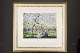 """Beautifully Framed Limited Edition by Claude Monet """"Springtime, (1886)""""."""
