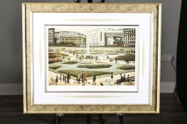 """Limited Edition L.S. Lowry """"Piccadilly Gardens"""" Authentication & Embossed Stamped. Mint Condition."""