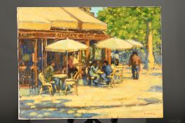 """John Mackie original oil on canvas. """"Cafe on the Champs Elysees"""""""