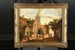 Original Fine Oil on Panel of a Dutch Street Scene in Hand Made Frame