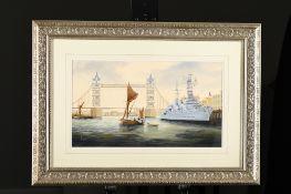 Original Painting of HMS Belfast in the Thames by Ken Hammond