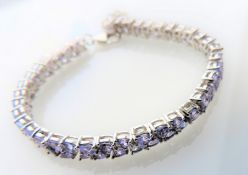 15.6 Carat Sterling Silver Tanzanite Tennis Bracelet