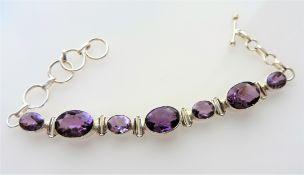 18.75 carat Amethyst Bracelet in Sterling Silver
