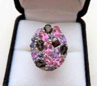 Multi Gemstone Sterling Silver Ring