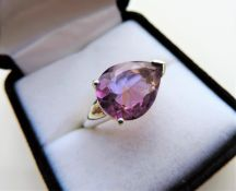 5 carat Amethyst Sterling Silver Ring