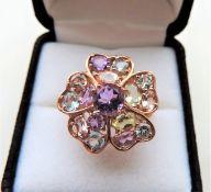 Multi Gemstone Flower Shaped Tutti Frutti Ring