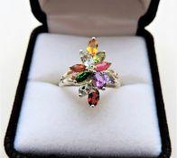 Tutti Frutti Multi Gemstone Bouquet Cluster Ring