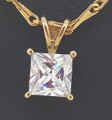 9ct (375) Yellow Gold Four Claw CZ Pendant