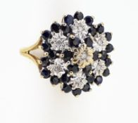 9ct (375) Yellow Gold Sapphire & Diamond Large Cluster Ring