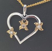 9ct (375) White and Yellow Gold Open Heart Diamond Pendant