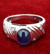 9ct (375) White Gold Oval Sapphire and Diamond Ring