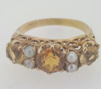 Vintage 9ct (375) Yellow Gold Citrine & Pearl Dress Ring