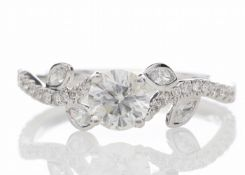 18ct White Gold Single Stone Diamond Ring With Stone Set Shoulders (0.55) 0.91 Carats