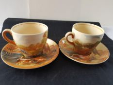 Early 1900 Royal Doulton Woodley Dale 2 Cups/Saucers