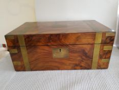1886 Brass Bound Walnut and Mahogany Writing Slope