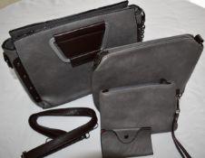 Black Top handle satchel bags for ladies set vegan leather hand bag/purse/wallet/card holder