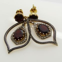 14ct yellow gold and silver vintage-style garnet and diamond flame-shaped drop earrings, boxed