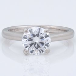 An exceptional quality platinum D-colour, 1.55ct, VVS2 clarity solitaire diamond ring, certificated