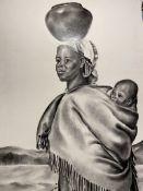 Original painting Sotho Woman And Child by M J Van Der Westhuizen 1991.