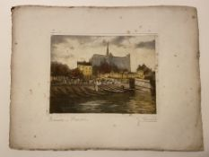 J Davril signed etching