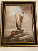 Oil Painting by G.D.P. Dutch Ferry On A Gusty Day-V.H.