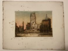 Marcel Augis 1915 Signed etching