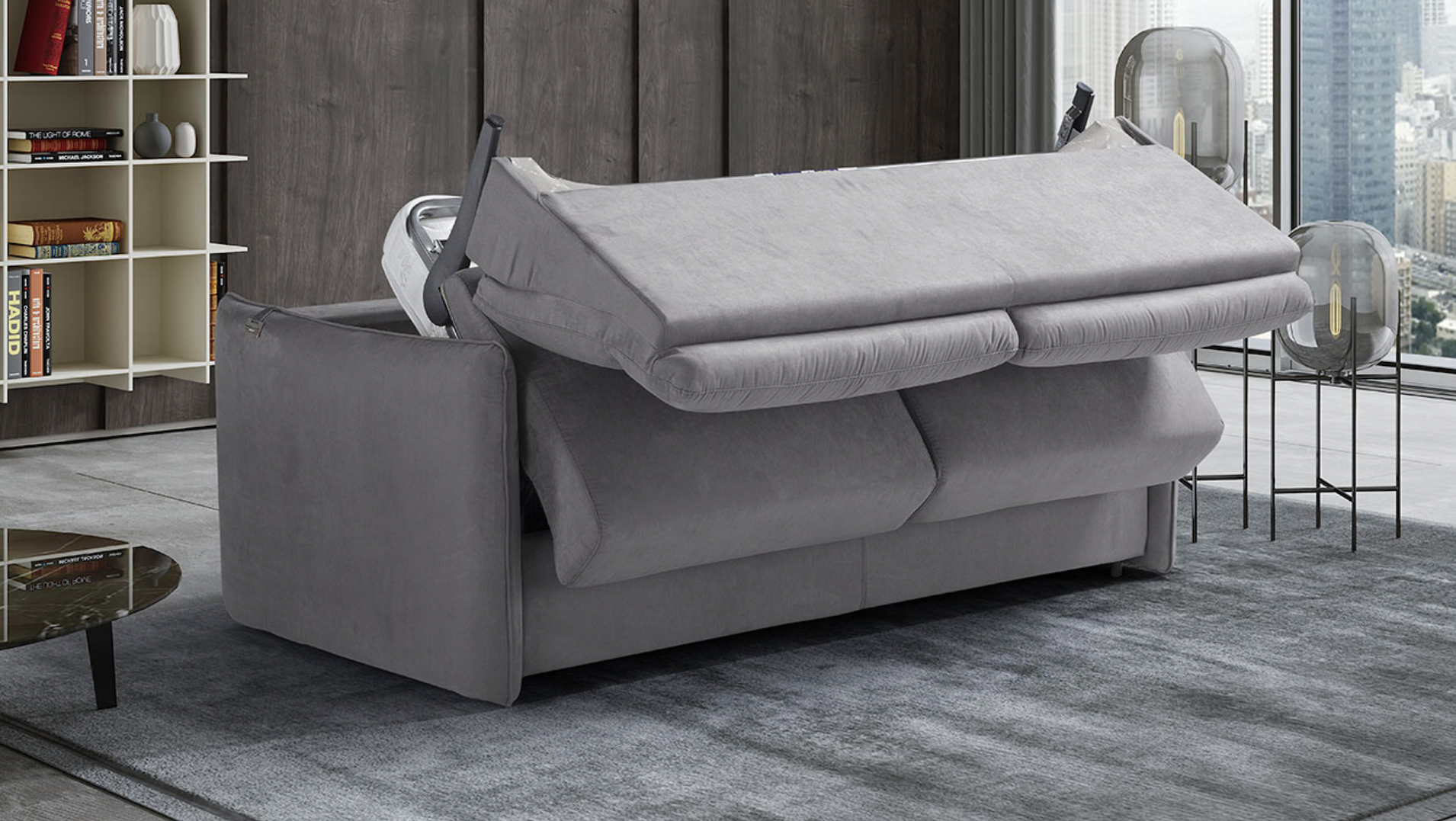 AIMEE Italian Crafted 3 Seat Sofa Bed in PLAZA SILVER RRP £1979 - Image 5 of 9