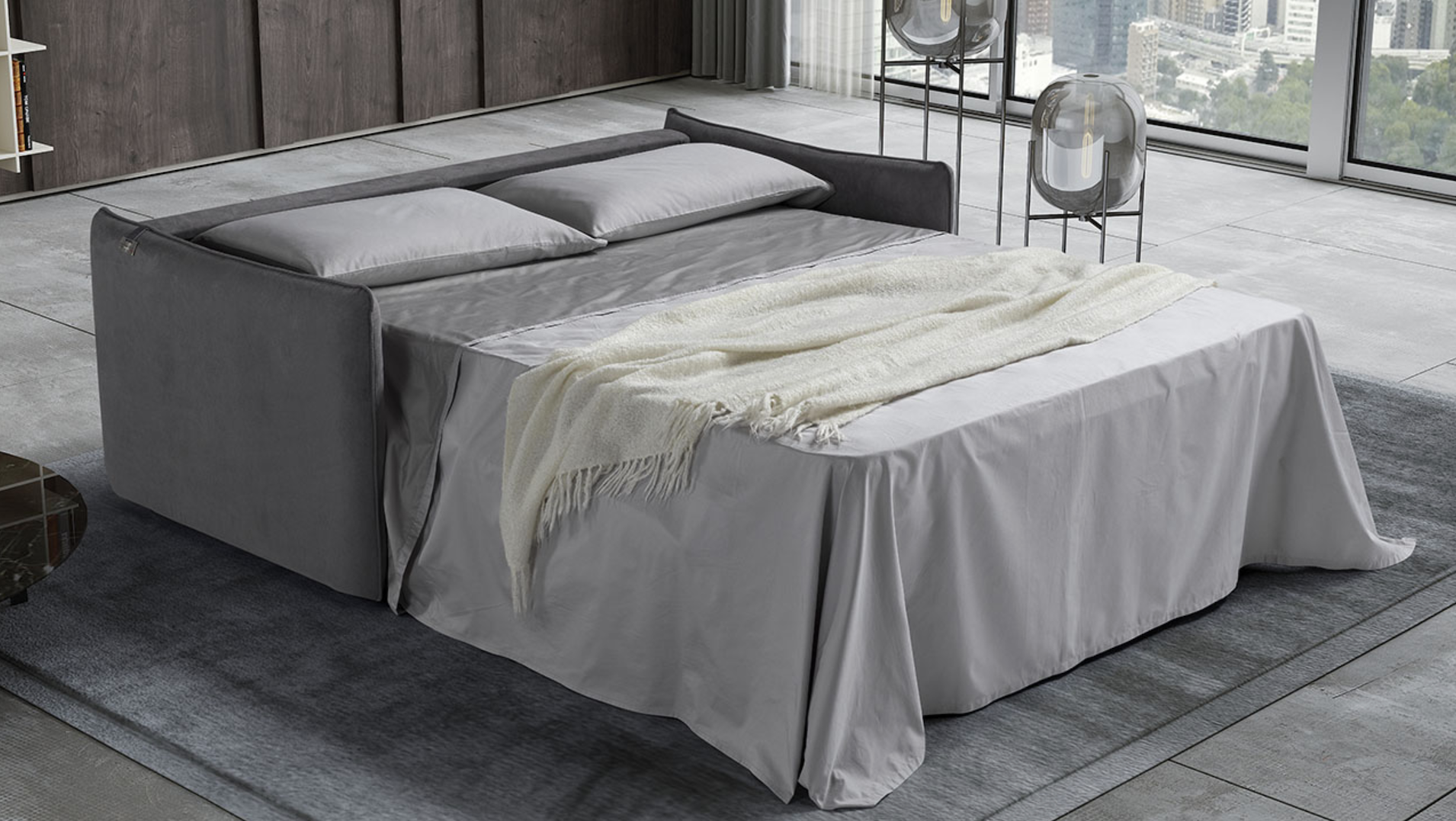 AIMEE Italian Crafted 3 Seat Sofa Bed in PLAZA SILVER RRP £1979 - Image 3 of 5