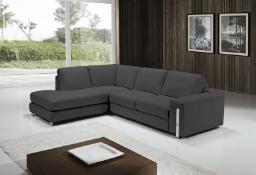 EGOISTE Corner Sofa - Dark Grey Italian Leather Left Hand Chaise RRP £3499