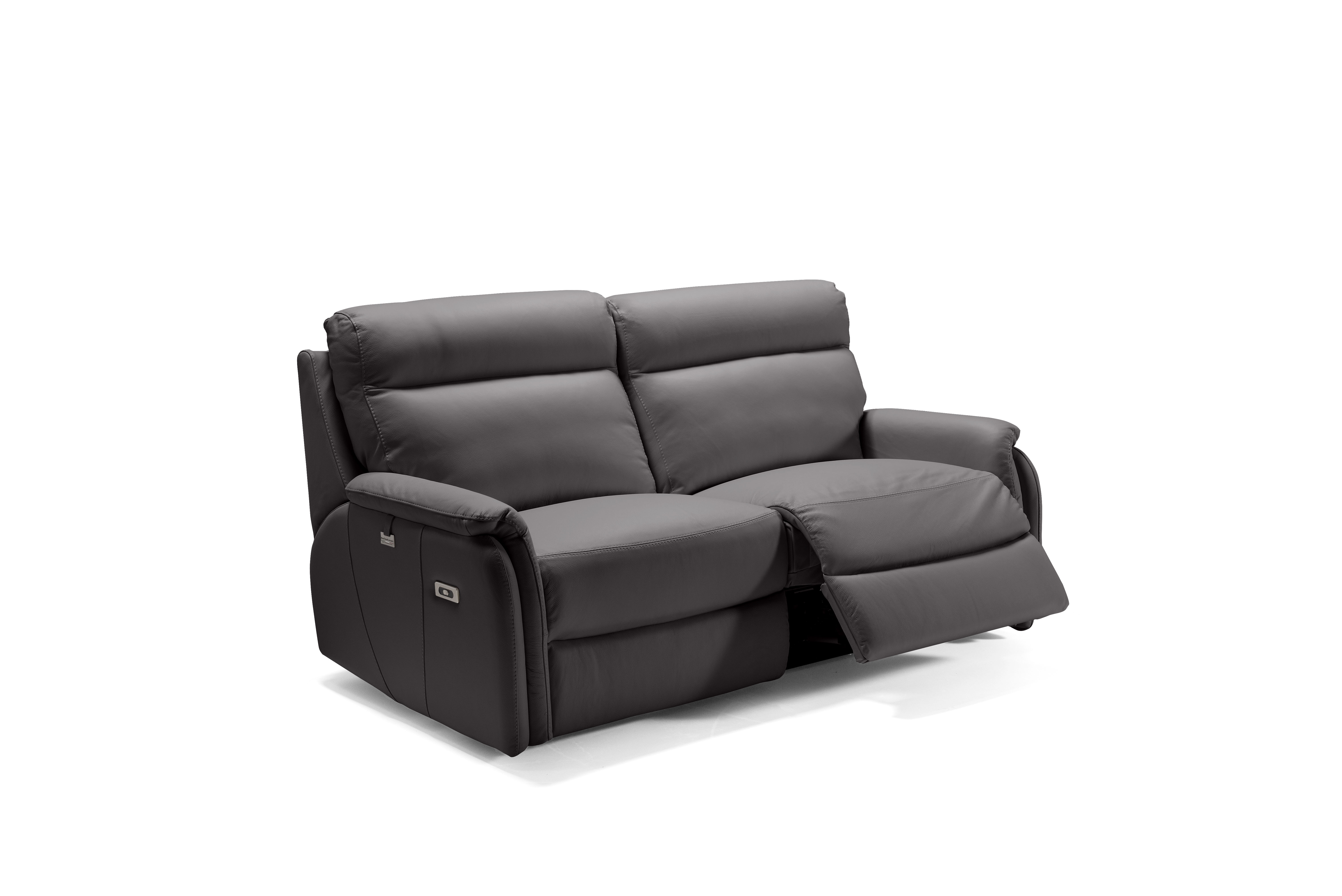 FOX Italian Leather Recliner 3 & 2 Seat Sofa - Dark Grey Grigio RRP £4800 - Image 2 of 4