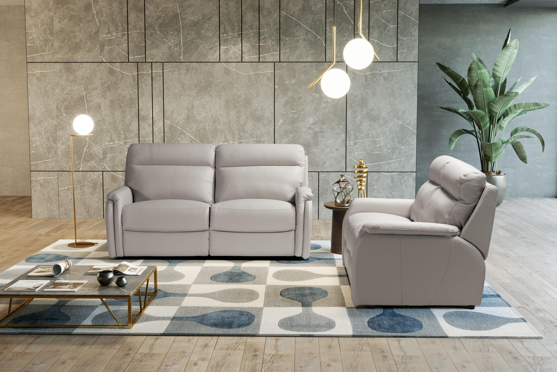 FOX Italian Leather Recliner 3 & 2 Seat Sofa by Galieri - Cenere Light Grey - Image 4 of 4