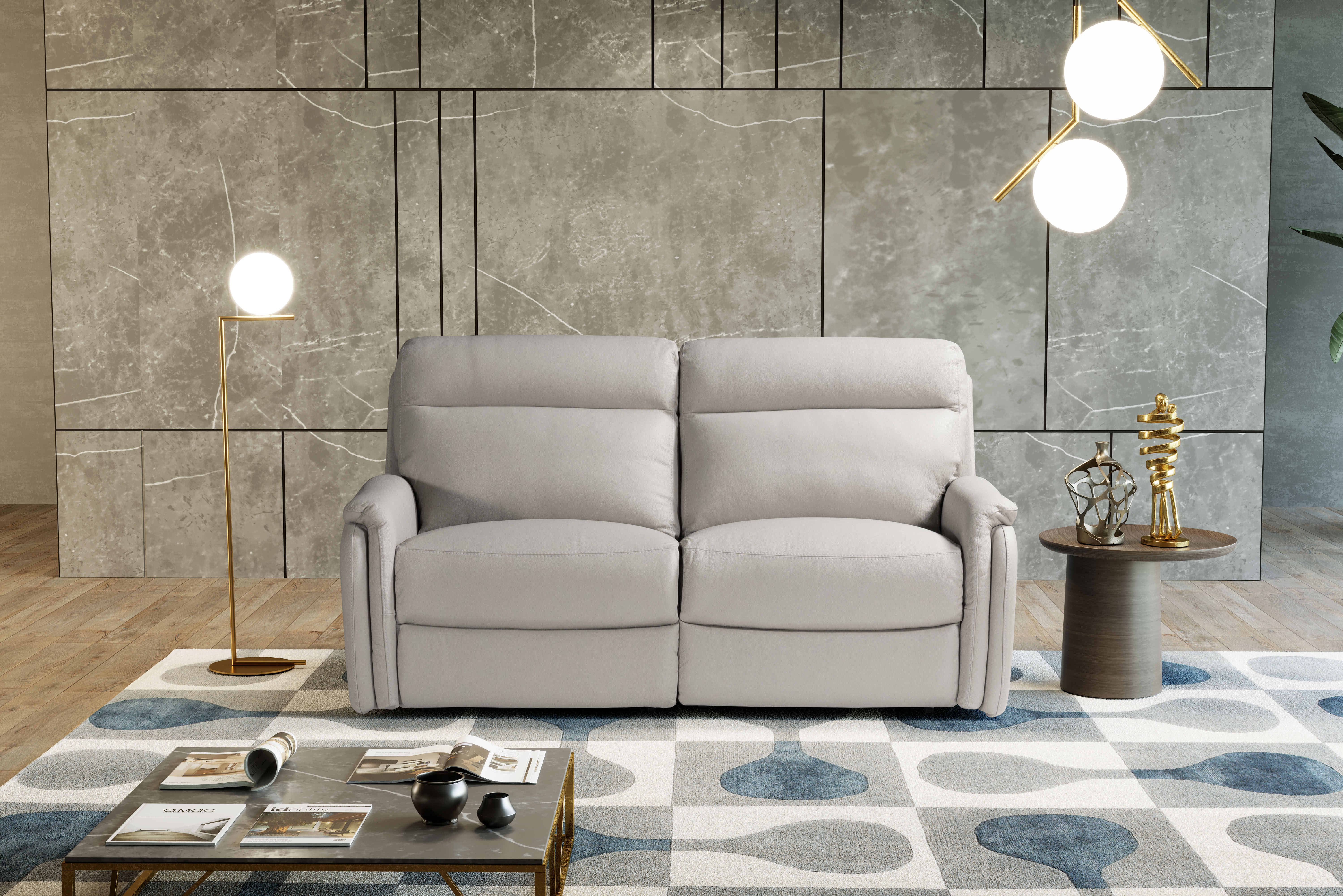 FOX Italian Leather Recliner 3 & 2 Seat Sofa by Galieri - Cenere Light Grey - Image 2 of 4