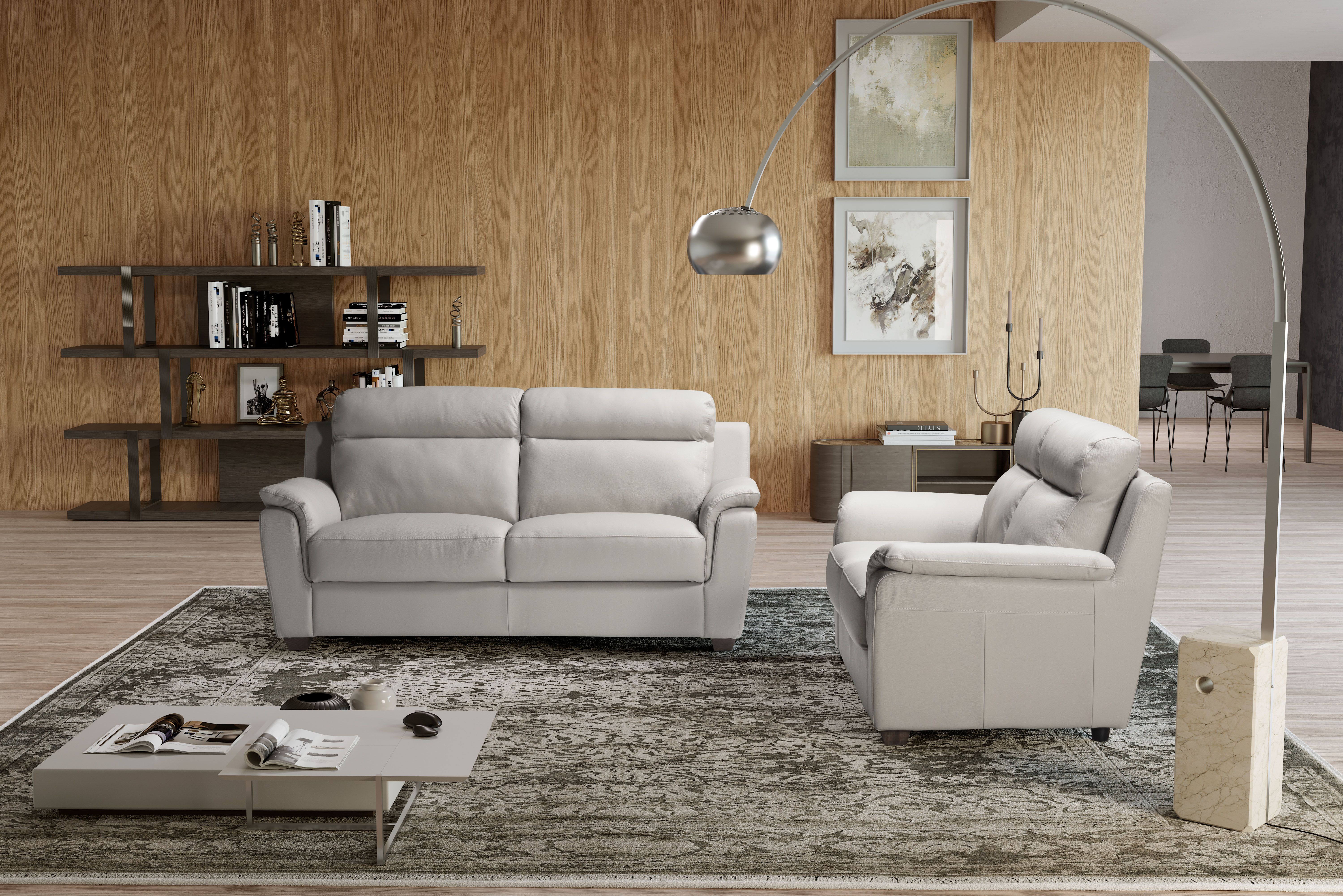 EDNA Italian Leather 3 & 2 Seat Sofas - Light Grey Cenere. RRP £3399 - Image 3 of 4