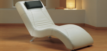 WAVE Italian Crafted Chaise Chair in White Italian Leather. RRP £1399