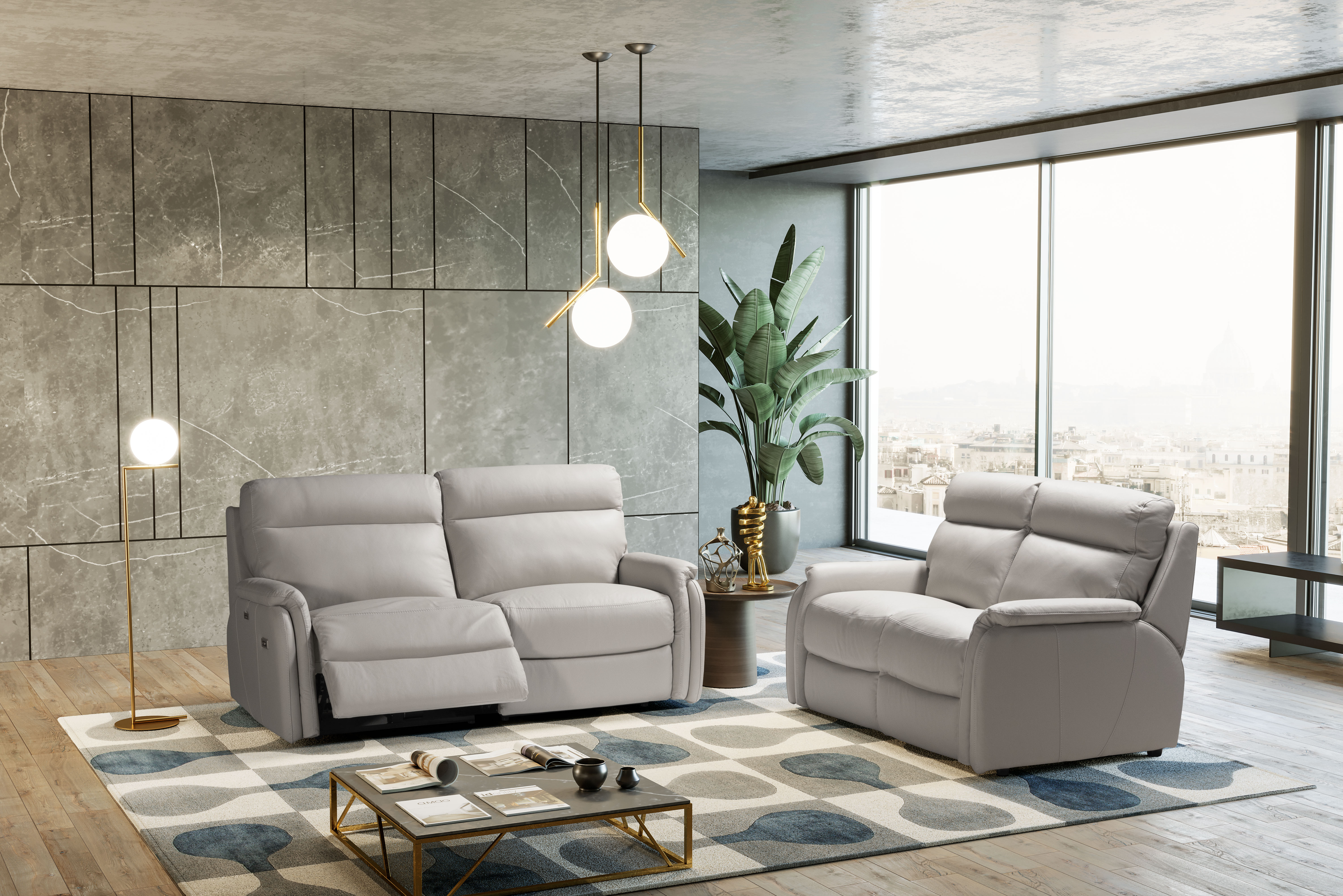 FOX Italian Leather Recliner 3 & 2 Seat Sofa by Galieri - Cenere Light Grey