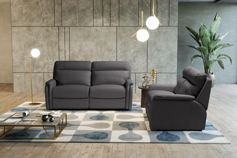 FOX Italian Leather Recliner 3 & 2 Seat Sofa - Dark Grey Grigio RRP £4801 - Image 4 of 4