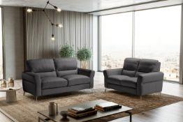 WINONA Italian Leather 3 & 2 Seat Sofas - Dark Grey Grigio RRP £3699