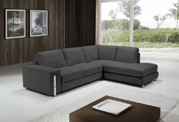 EGOISTE Corner Sofa - Dark Grey Italian Leather Right Hand Chaise RRP £3499