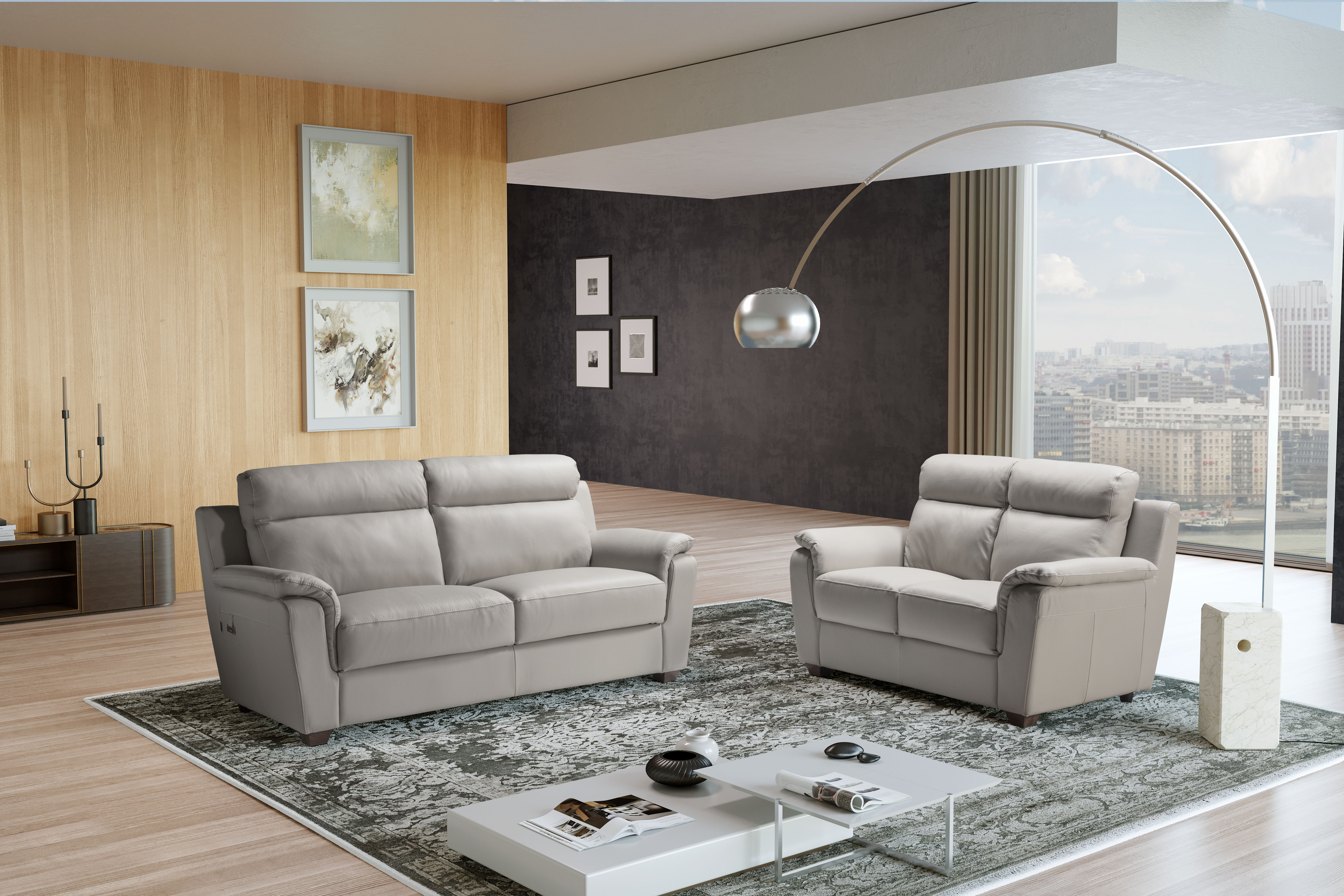 EDNA Italian Leather 3 & 2 Seat Sofas - Light Grey Cenere. RRP £3399