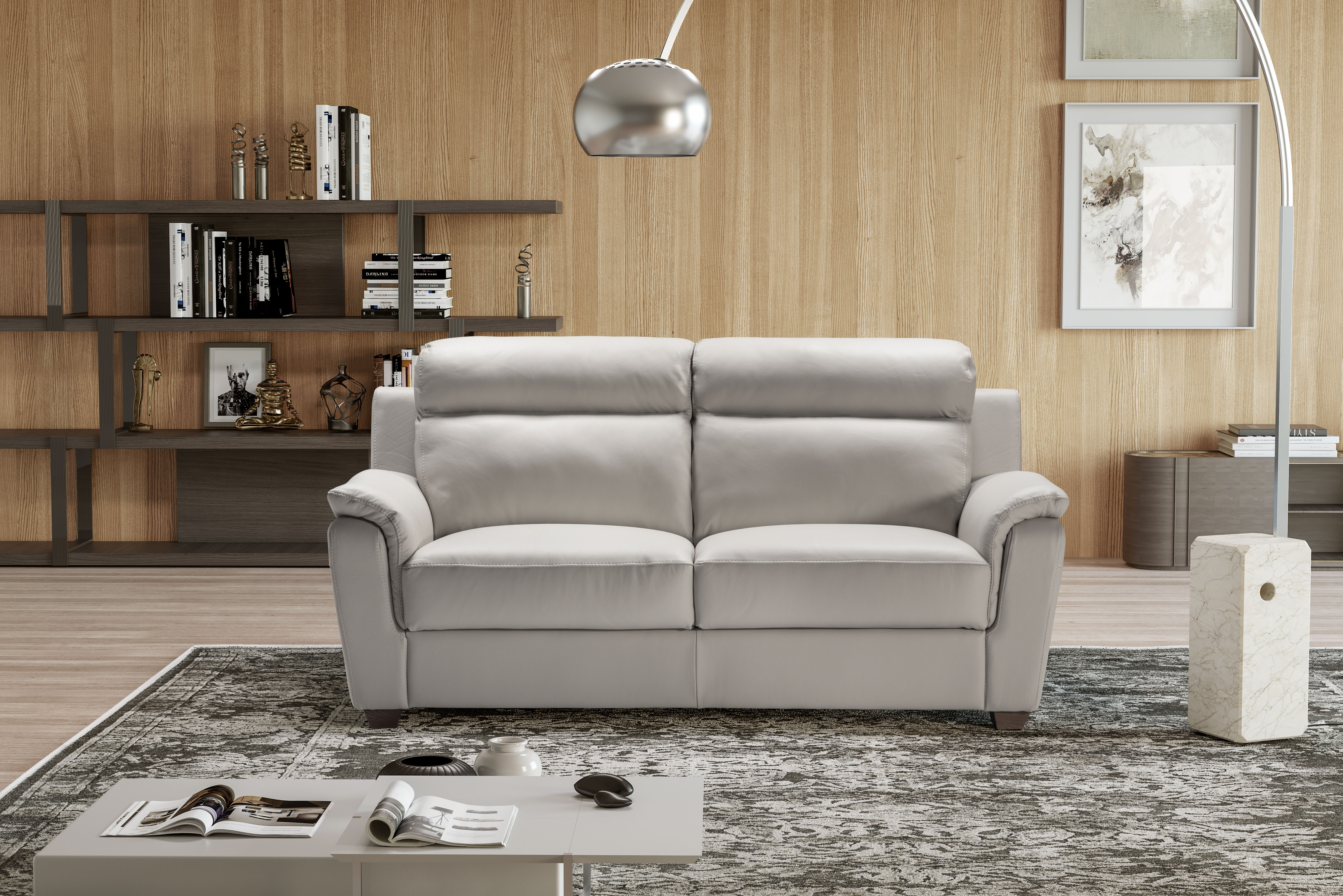 EDNA Italian Leather 3 & 2 Seat Sofas - Light Grey Cenere. RRP £3399 - Image 4 of 4