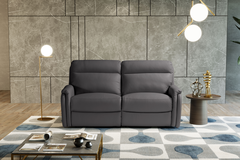 FOX Italian Leather Recliner 3 & 2 Seat Sofa - Dark Grey Grigio RRP £4800 - Image 3 of 4