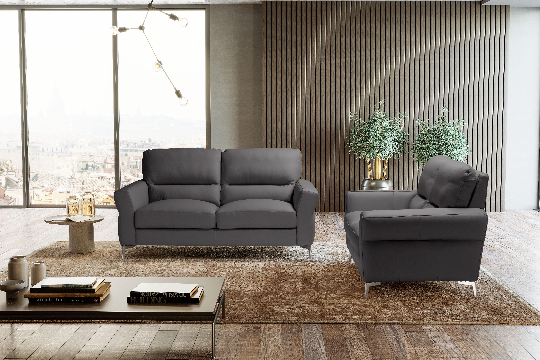 WINONA Italian Leather 3 & 2 Seat Sofas - Dark Grey Grigio RRP £3699 - Image 2 of 3