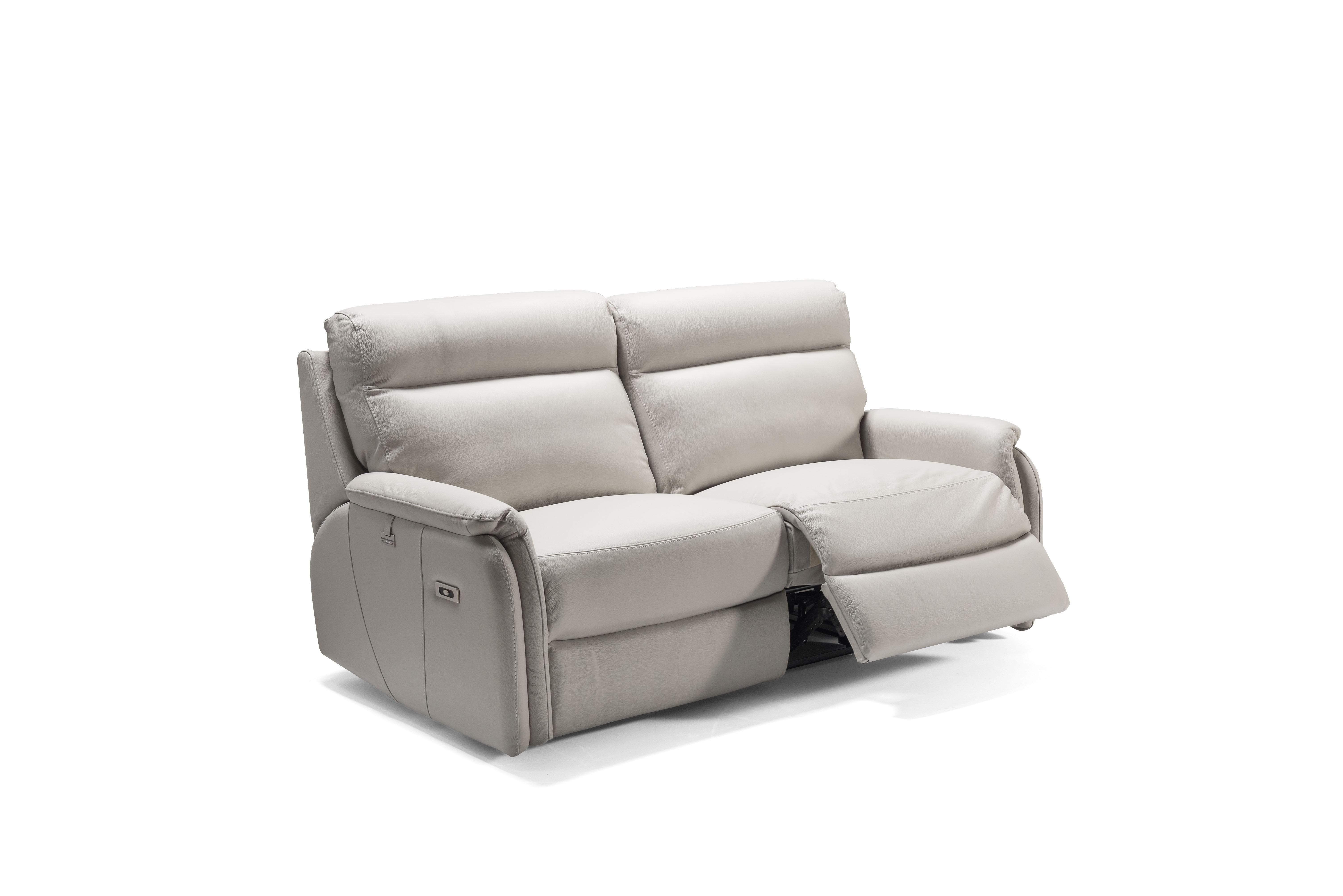 FOX Italian Leather Recliner 3 & 2 Seat Sofa by Galieri - Cenere Light Grey - Image 3 of 4
